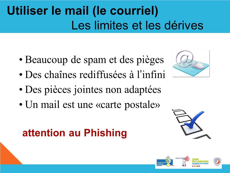 Les limites et les dérives Beaucoup de spam et des pièges Des chaînes rediffusées à l infini Des pièces jointes non adaptées Un mail est une «carte po