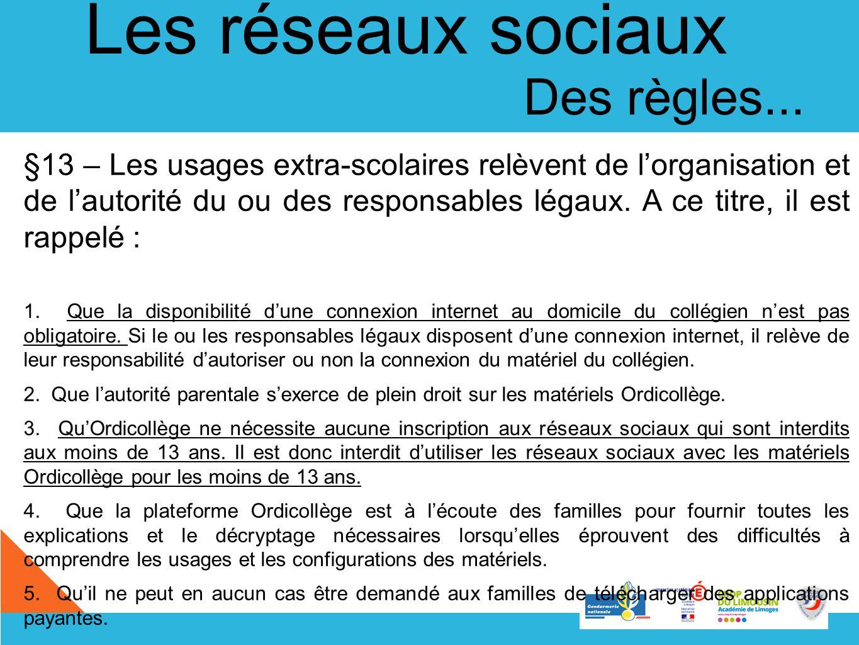 Les réseaux sociaux Des règles... §13 – Les usages extra-scolaires relèvent de lorganisation et de lautorité du ou des responsables légaux. A ce titre