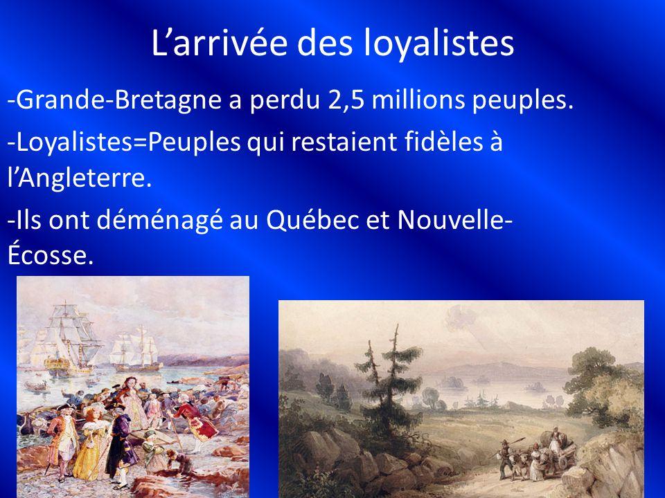 Larrivée des loyalistes -Grande-Bretagne a perdu 2,5 millions peuples. -Loyalistes=Peuples qui restaient fidèles à lAngleterre. -Ils ont déménagé au Q