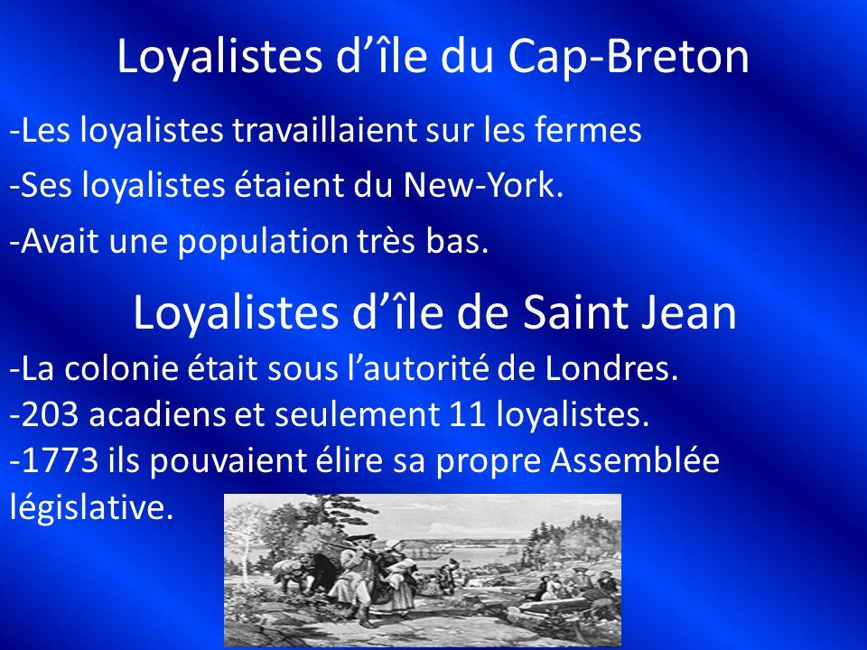 Loyalistes dîle du Cap-Breton -Les loyalistes travaillaient sur les fermes -Ses loyalistes étaient du New-York. -Avait une population très bas. -La co