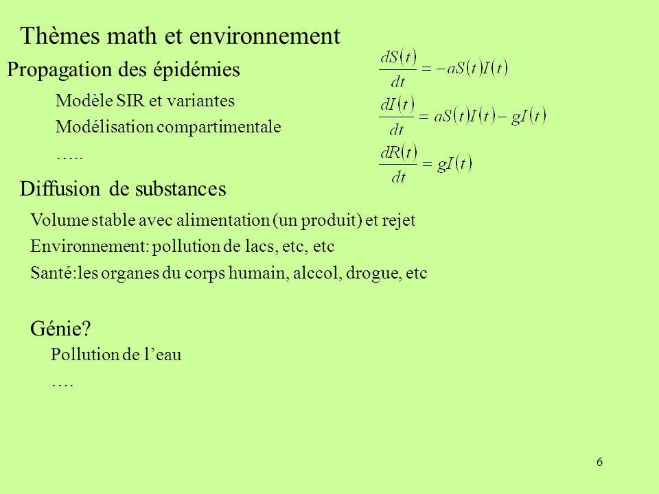 6 Thèmes math et environnement Volume stable avec alimentation (un produit) et rejet Environnement: pollution de lacs, etc, etc Santé:les organes du c
