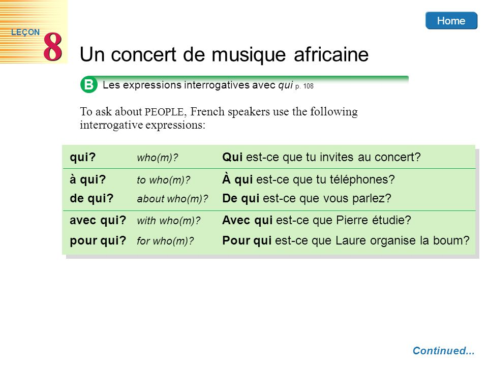 Home Un concert de musique africaine 8 8 LEÇON B Les expressions interrogatives avec qui p. 108 To ask about PEOPLE, French speakers use the following