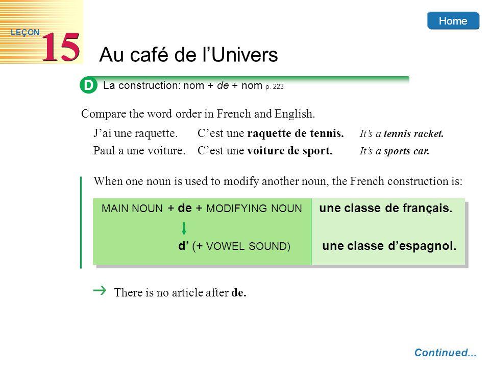 Home Au café de lUnivers 15 LEÇON MAIN NOUN + de + MODIFYING NOUN une classe de français. d (+ VOWEL SOUND) une classe despagnol. Compare the word ord