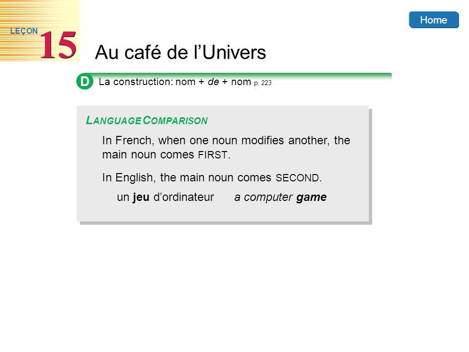 Home Au café de lUnivers 15 LEÇON D In French, when one noun modifies another, the main noun comes FIRST. In English, the main noun comes SECOND. un j