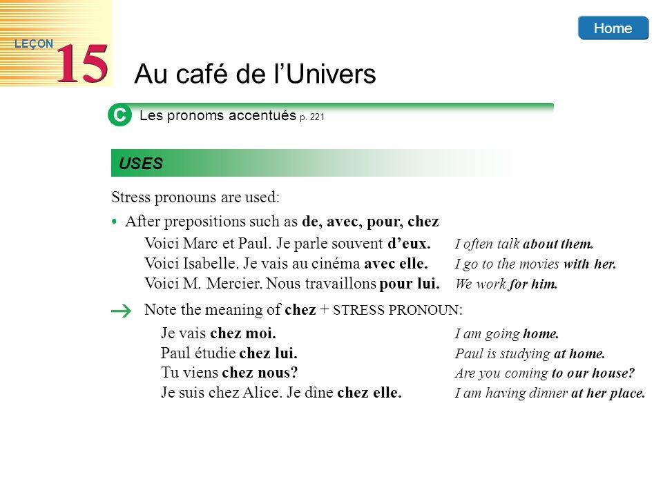 Home Au café de lUnivers 15 LEÇON C Les pronoms accentués p. 221 USES Stress pronouns are used: After prepositions such as de, avec, pour, chez Voici