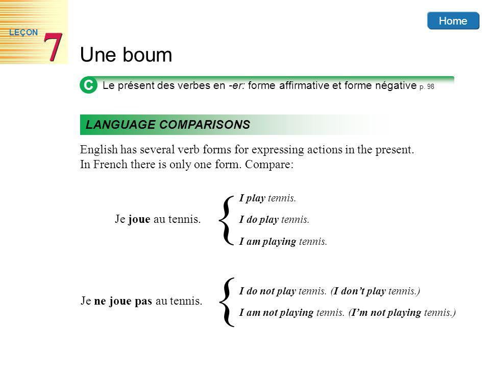 Home Une boum 7 7 LEÇON English has several verb forms for expressing actions in the present.