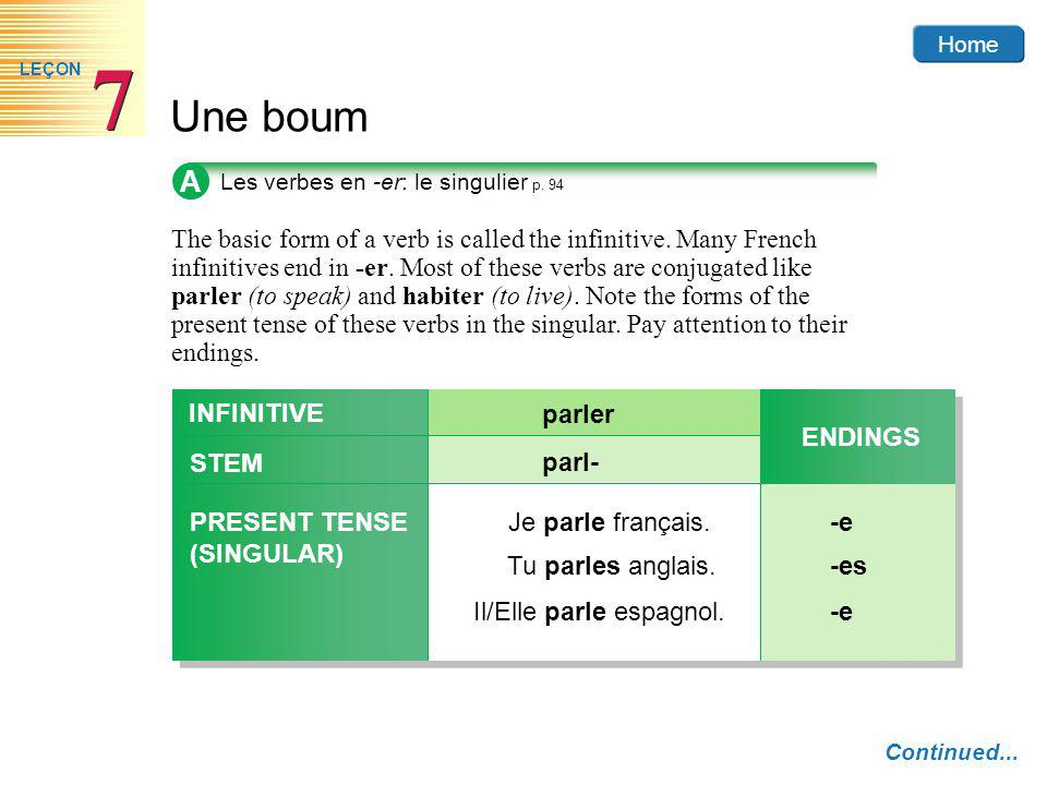 Home Une boum 7 7 LEÇON A The basic form of a verb is called the infinitive.