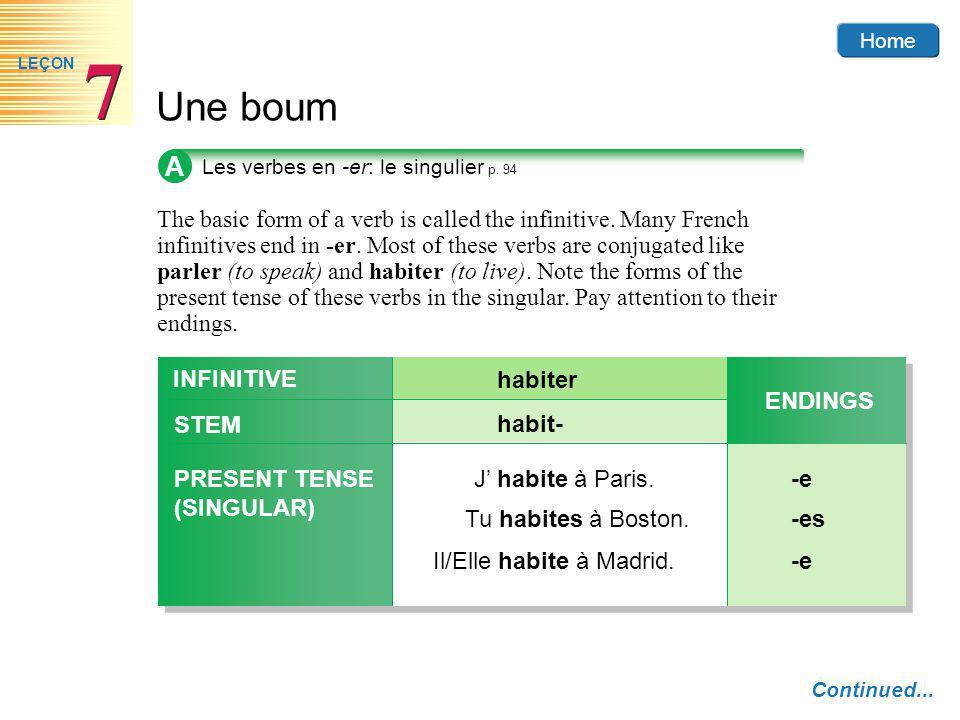 Home Une boum 7 7 LEÇON A Les verbes en -er: le singulier p.