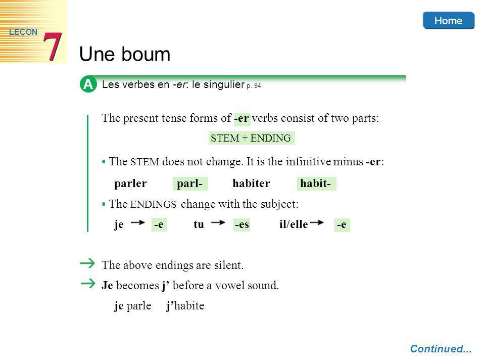 Home Une boum 7 7 LEÇON A Les verbes en -er: le singulier p. 94 Continued... The present tense forms of -er verbs consist of two parts: STEM + ENDING