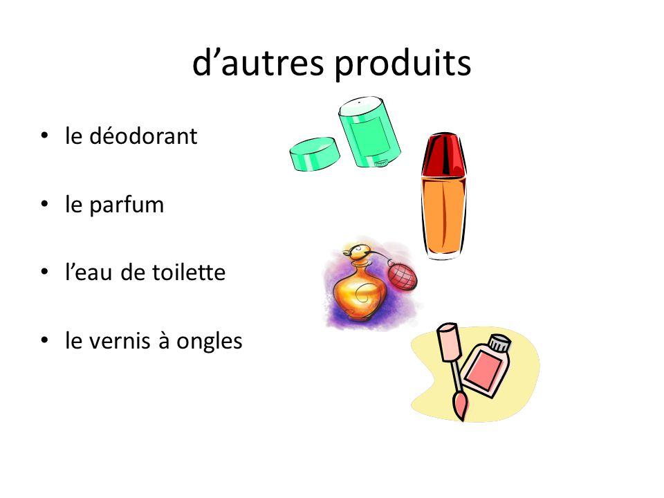 dautres produits le déodorant le parfum leau de toilette le vernis à ongles