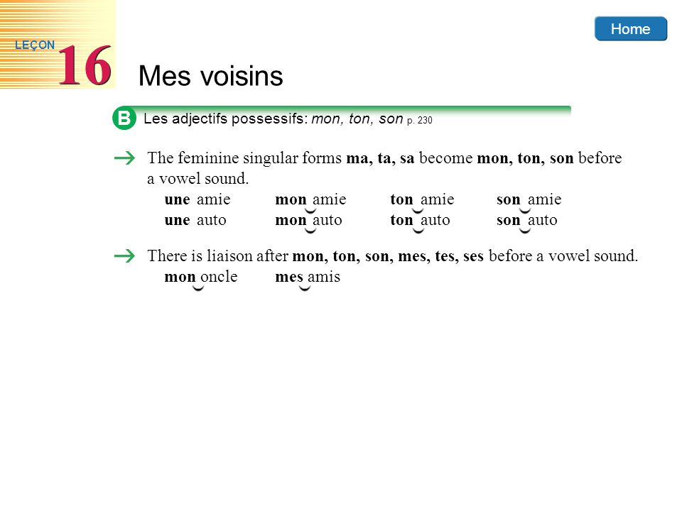Home Mes voisins 16 LEÇON There is liaison after mon, ton, son, mes, tes, ses before a vowel sound.