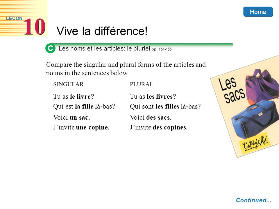 Home Vive la différence! 10 LEÇON Compare the singular and plural forms of the articles and nouns in the sentences below. SINGULARPLURAL Tu as le livr