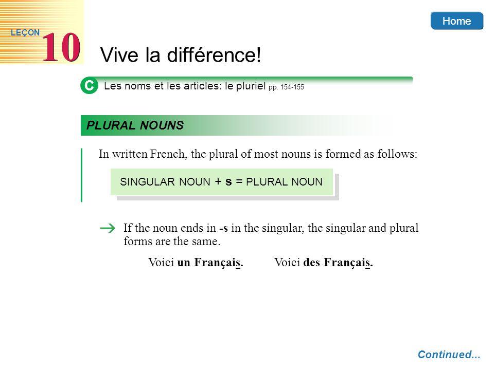 Home Vive la différence! 10 LEÇON C Les noms et les articles: le pluriel pp. 154-155 PLURAL NOUNS In written French, the plural of most nouns is forme