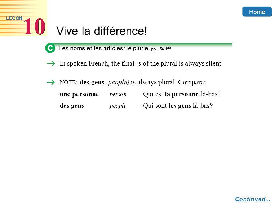 Home Vive la différence! 10 LEÇON C Les noms et les articles: le pluriel pp. 154-155 In spoken French, the final -s of the plural is always silent. NO