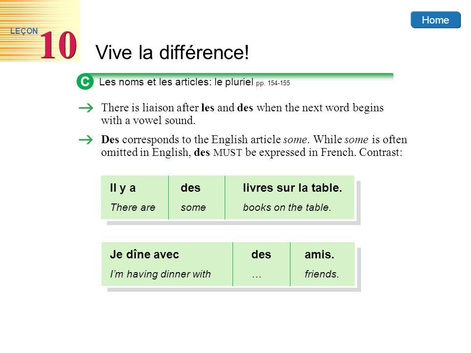 Home Vive la différence! 10 LEÇON C Les noms et les articles: le pluriel pp. 154-155 There is liaison after les and des when the next word begins with