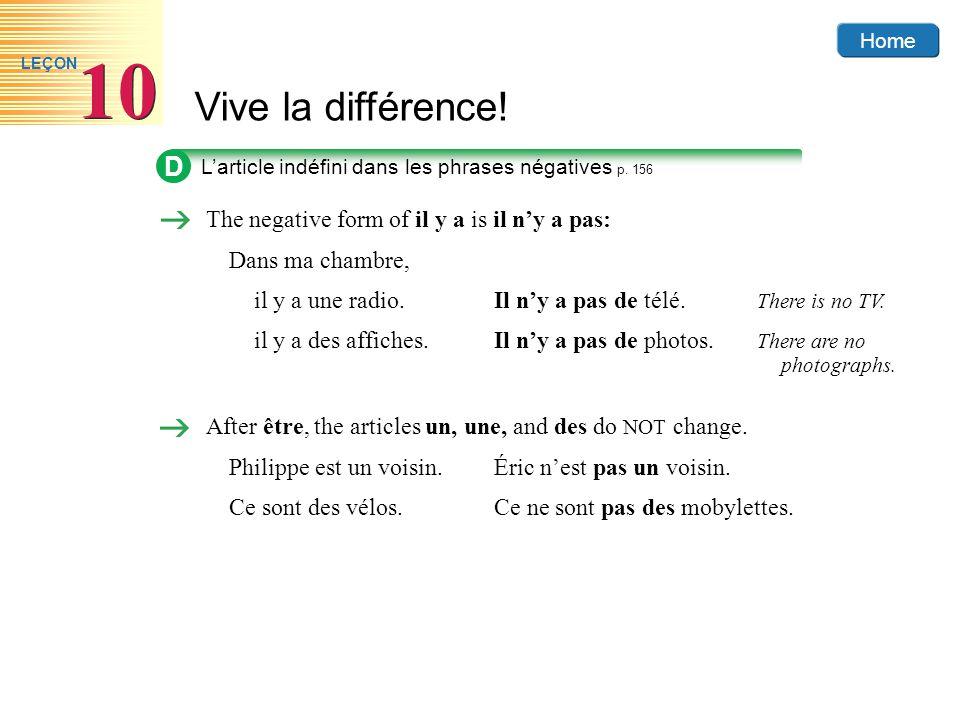 Home Vive la différence! 10 LEÇON D Larticle indéfini dans les phrases négatives p. 156 The negative form of il y a is il ny a pas: Dans ma chambre, i