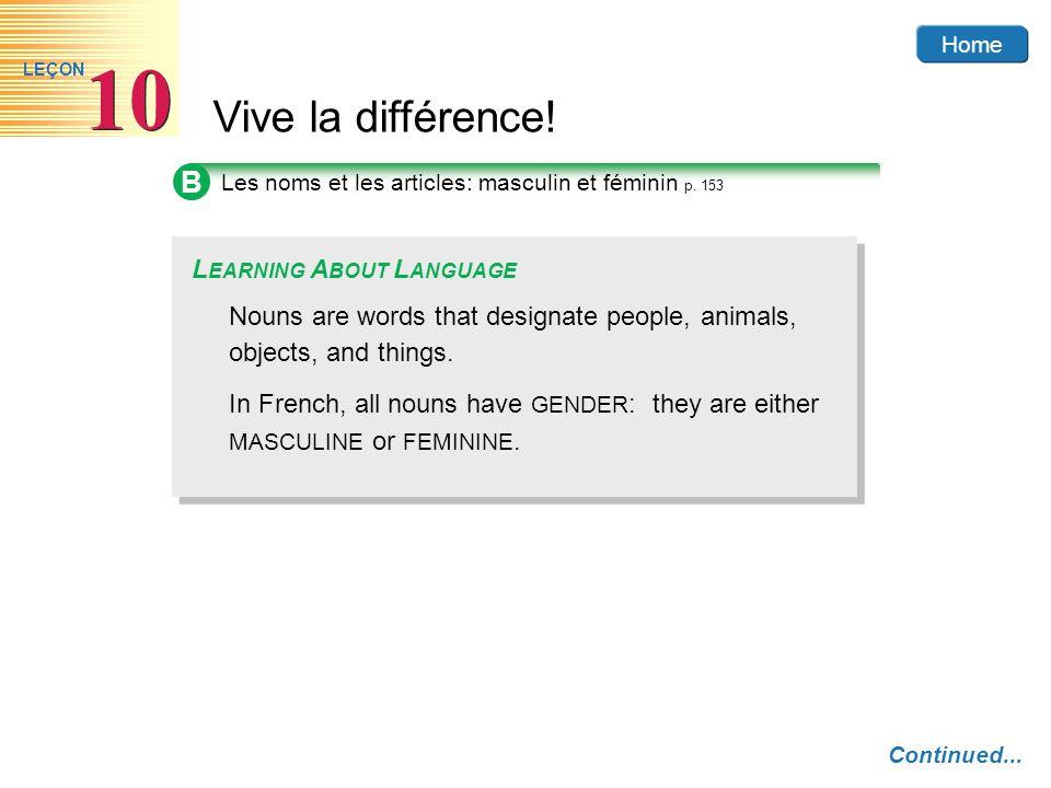 Home Vive la différence! 10 LEÇON B Les noms et les articles: masculin et féminin p. 153 Nouns are words that designate people, animals, objects, and