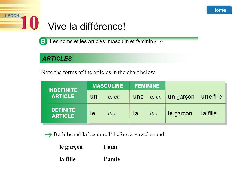 Home Vive la différence! 10 LEÇON B Les noms et les articles: masculin et féminin p. 153 ARTICLES Note the forms of the articles in the chart below. B