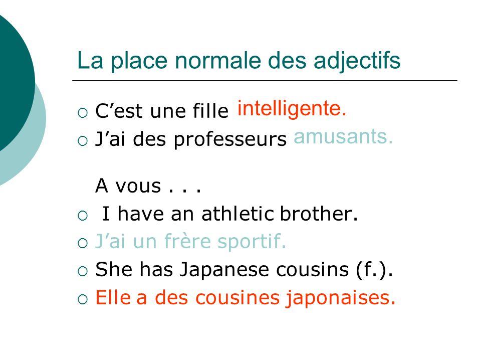 La place normale des adjectifs Cest une fille Jai des professeurs A vous...