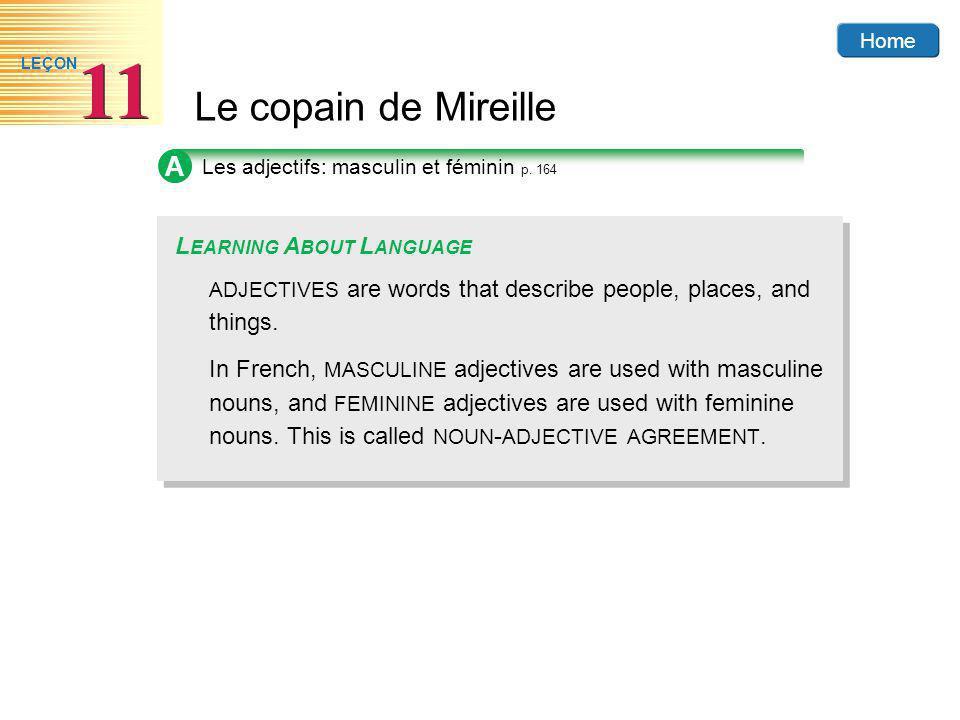 Home Le copain de Mireille 11 LEÇON A Les adjectifs: masculin et féminin p.