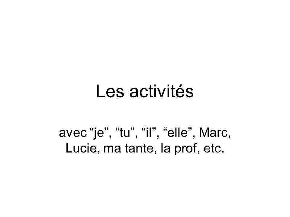 Les activités avec je, tu, il, elle, Marc, Lucie, ma tante, la prof, etc.