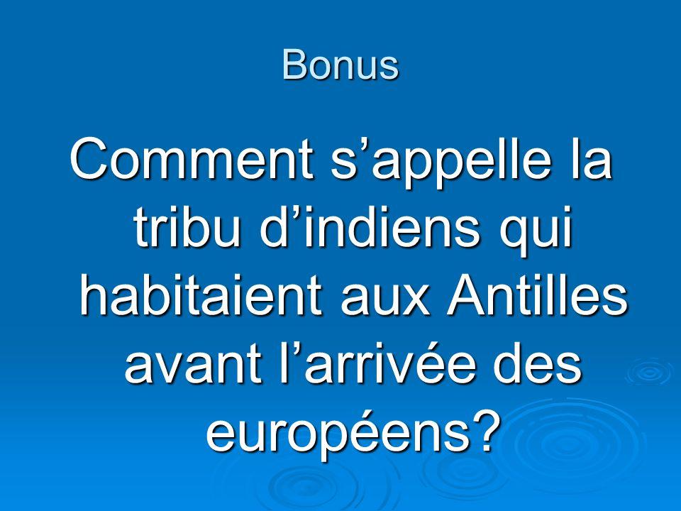 Bonus Comment sappelle la tribu dindiens qui habitaient aux Antilles avant larrivée des européens?