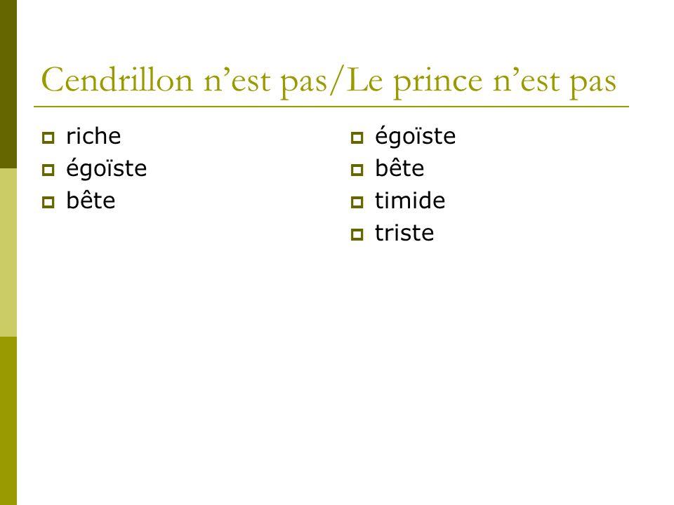 Cendrillon nest pas/Le prince nest pas riche égoïste bête égoïste bête timide triste