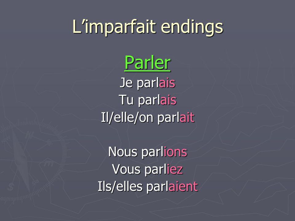 Limparfait endings Parler Je parlais Tu parlais Il/elle/on parlait Nous parlions Vous parliez Ils/elles parlaient