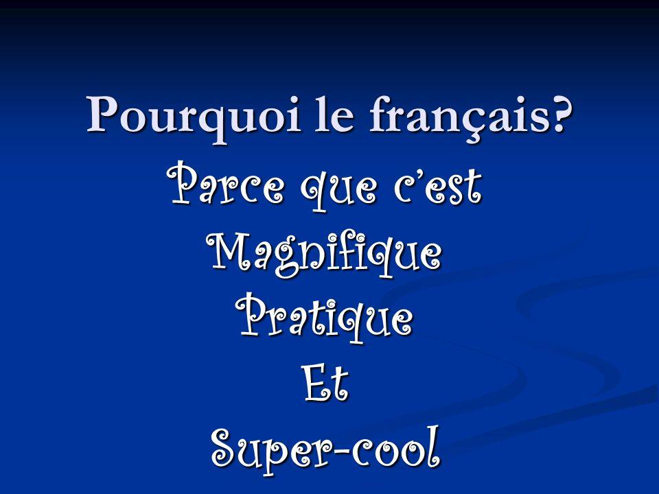 Pourquoi le français Parce que cest MagnifiquePratiqueEtSuper-cool