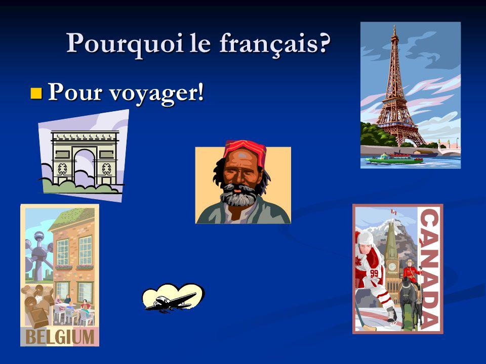 Pourquoi le français Pour voyager! Pour voyager!