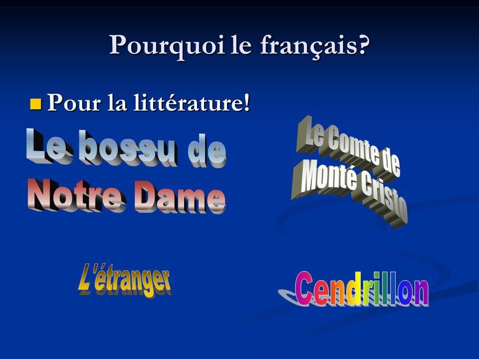 Pourquoi le français Pour la littérature! Pour la littérature!