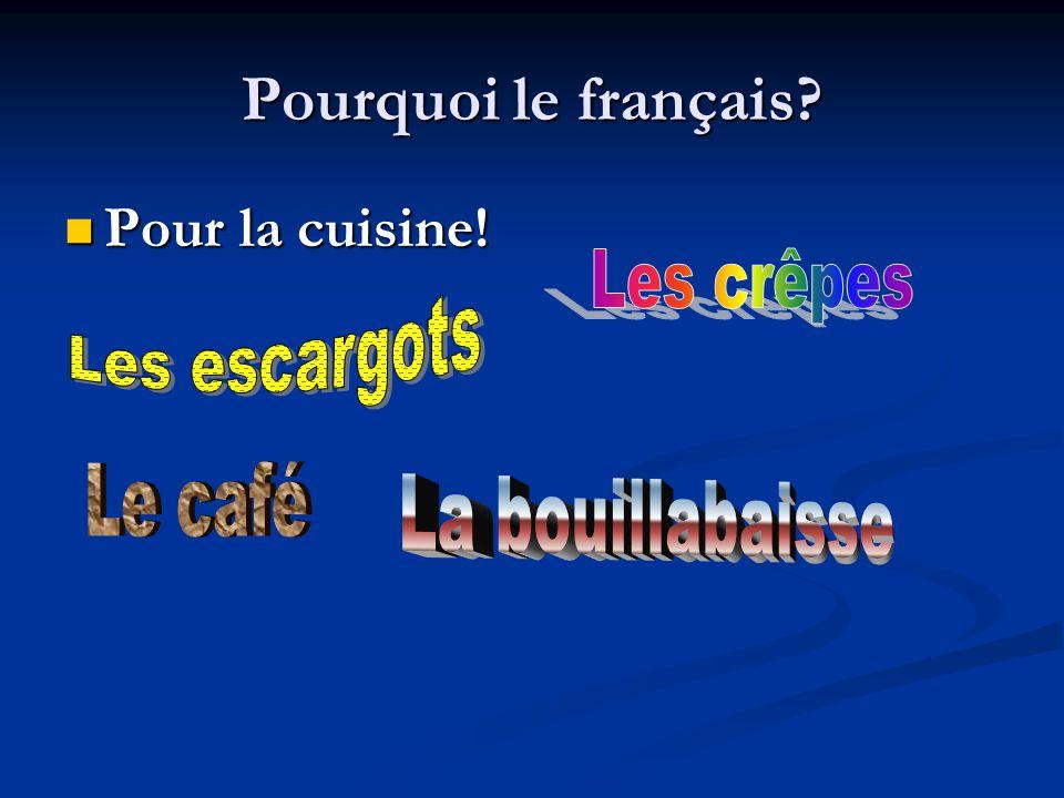 Pourquoi le français? Pour la cuisine! Pour la cuisine!