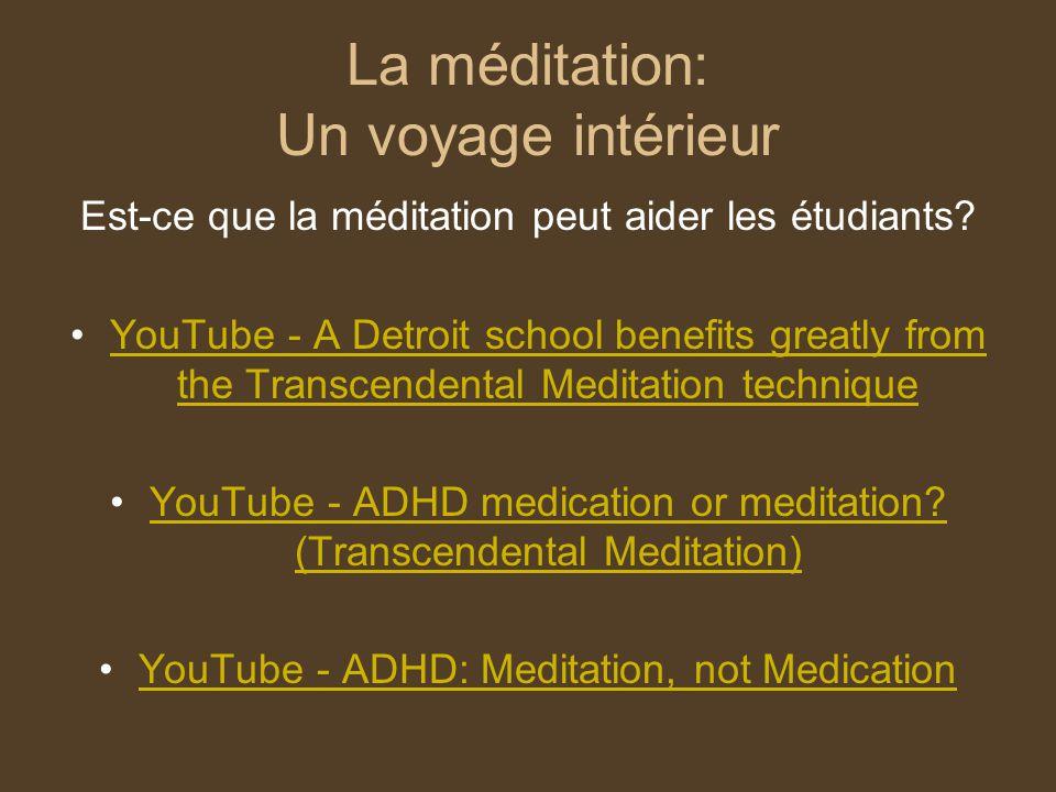 La méditation: Un voyage intérieur Est-ce que la méditation peut aider les étudiants? YouTube - A Detroit school benefits greatly from the Transcenden