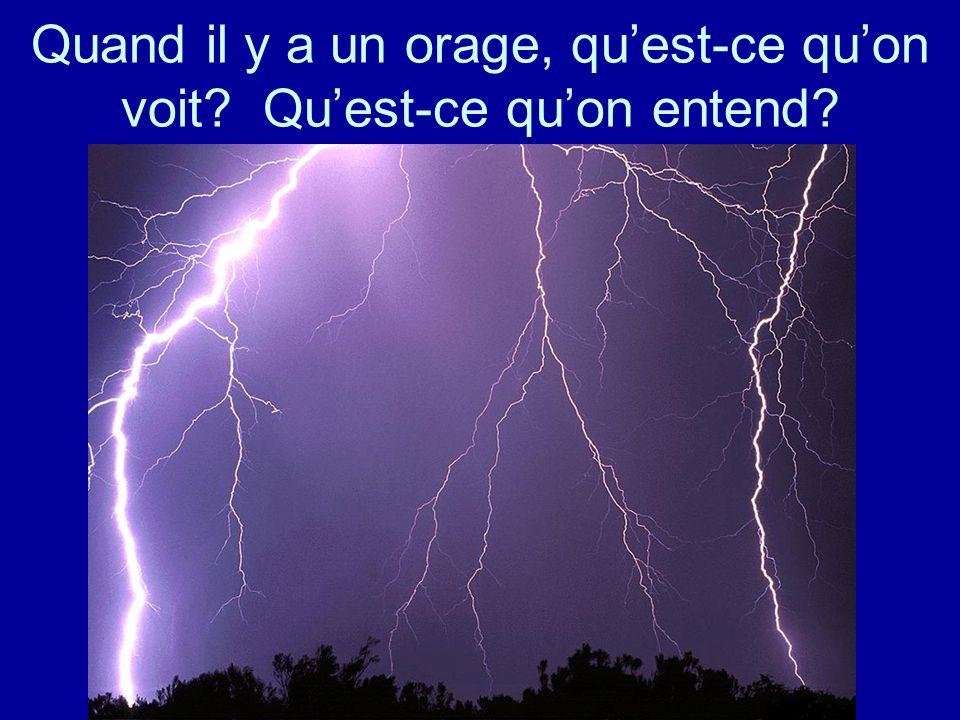 Quand il y a un orage, quest-ce quon voit Quest-ce quon entend