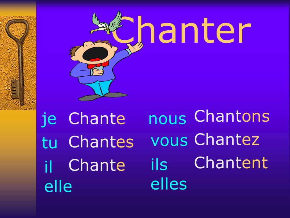 Chanter Chant er Chant Je Tu Il Elle Nous Ils Elles e es e ons ent Chant ez Vous