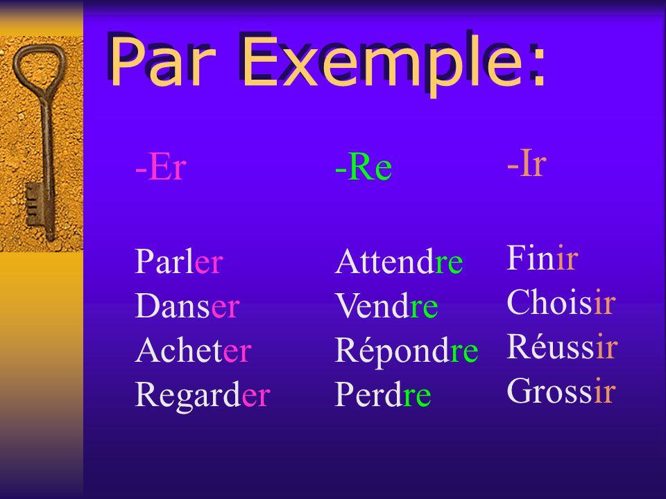 En français, il y a TROIS infinitifs er ir re