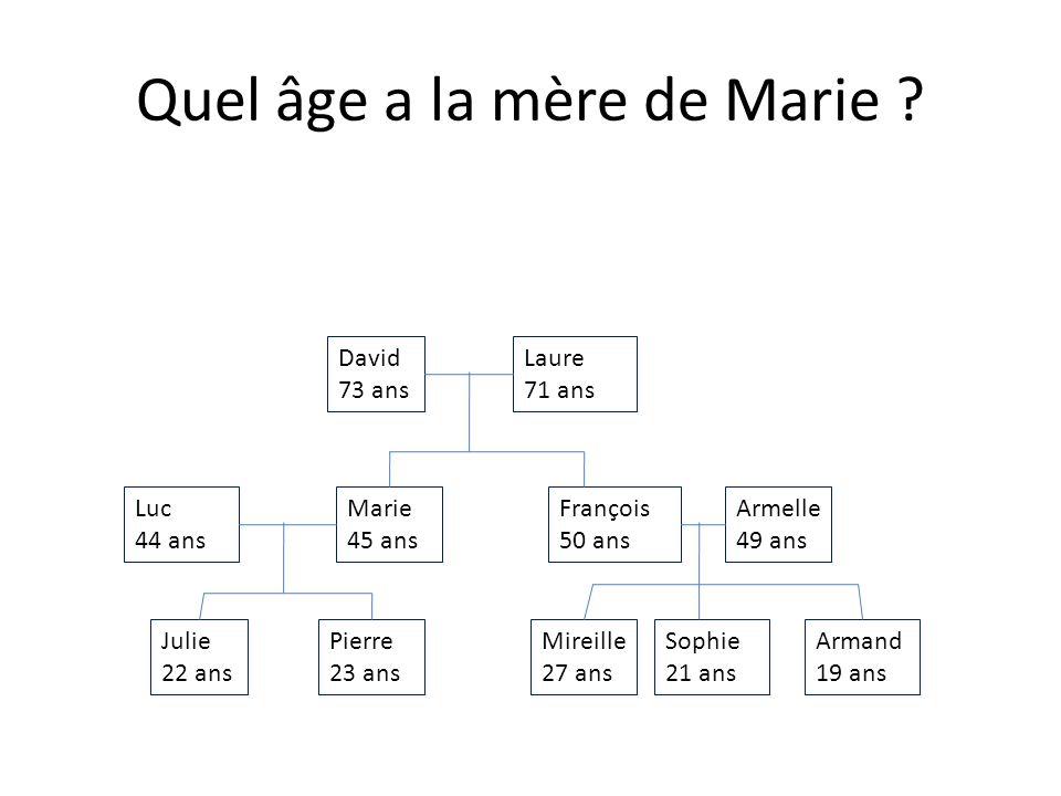Julie 22 ans Armand 19 ans Sophie 21 ans Mireille 27 ans Pierre 23 ans Armelle 49 ans François 50 ans Marie 45 ans Luc 44 ans Laure 71 ans David 73 ans Quel âge a la tante dArmand