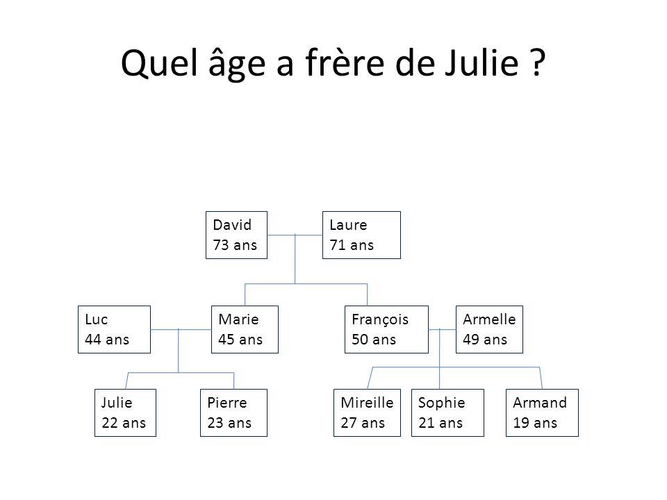 Julie 22 ans Armand 19 ans Sophie 21 ans Mireille 27 ans Pierre 23 ans Armelle 49 ans François 50 ans Marie 45 ans Luc 44 ans Laure 71 ans David 73 ans Quel âge a la mère de Marie