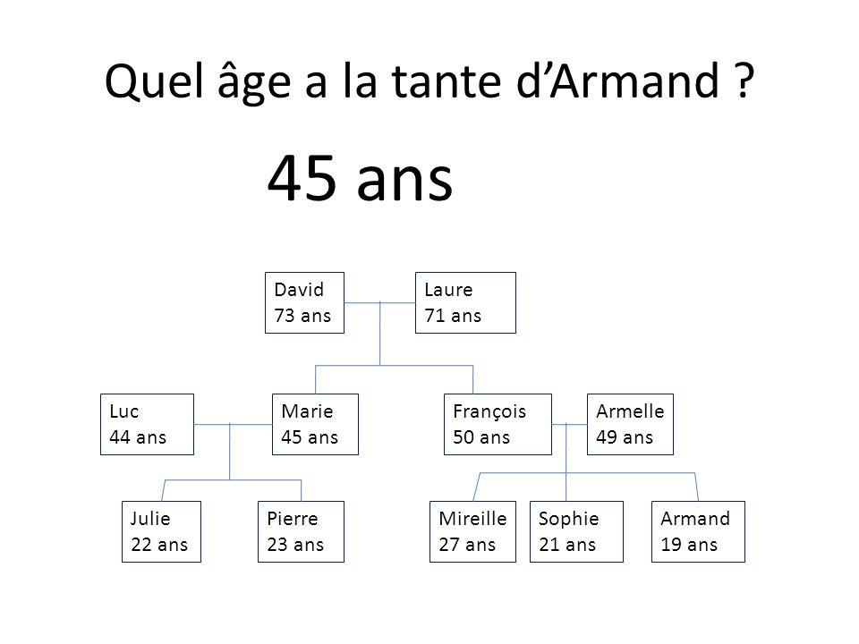Julie 22 ans Armand 19 ans Sophie 21 ans Mireille 27 ans Pierre 23 ans Armelle 49 ans François 50 ans Marie 45 ans Luc 44 ans Laure 71 ans David 73 ans Quel âge a la cousine de Sophie .