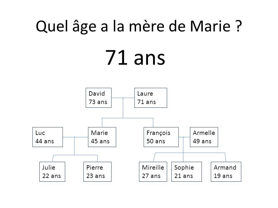 Julie 22 ans Armand 19 ans Sophie 21 ans Mireille 27 ans Pierre 23 ans Armelle 49 ans François 50 ans Marie 45 ans Luc 44 ans Laure 71 ans David 73 ans Quel âge a la tante dArmand .
