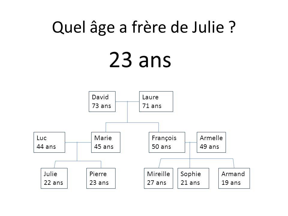 Julie 22 ans Armand 19 ans Sophie 21 ans Mireille 27 ans Pierre 23 ans Armelle 49 ans François 50 ans Marie 45 ans Luc 44 ans Laure 71 ans David 73 ans Quel âge a la mère de Marie .