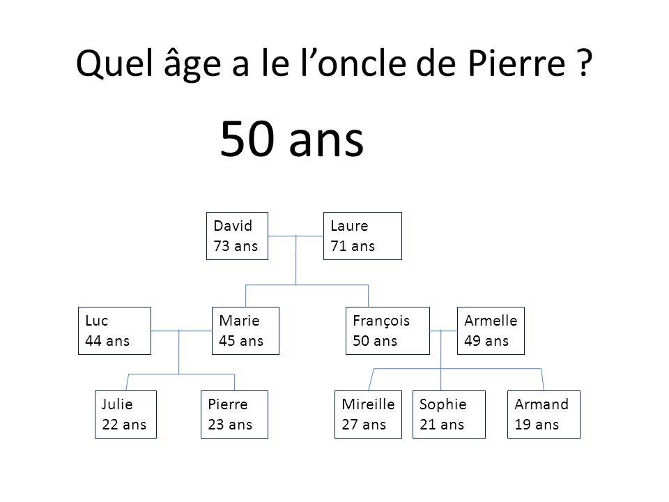 Julie 22 ans Armand 19 ans Sophie 21 ans Mireille 27 ans Pierre 23 ans Armelle 49 ans François 50 ans Marie 45 ans Luc 44 ans Laure 71 ans David 73 ans Quel âge a frère de Julie .