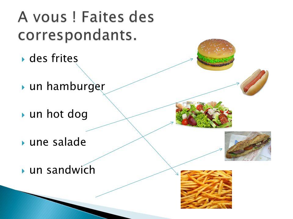 des frites un hamburger un hot dog une salade un sandwich