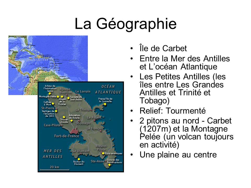La Géographie Île de Carbet Entre la Mer des Antilles et Locéan Atlantique Les Petites Antilles (les îles entre Les Grandes Antilles et Trinité et Tob