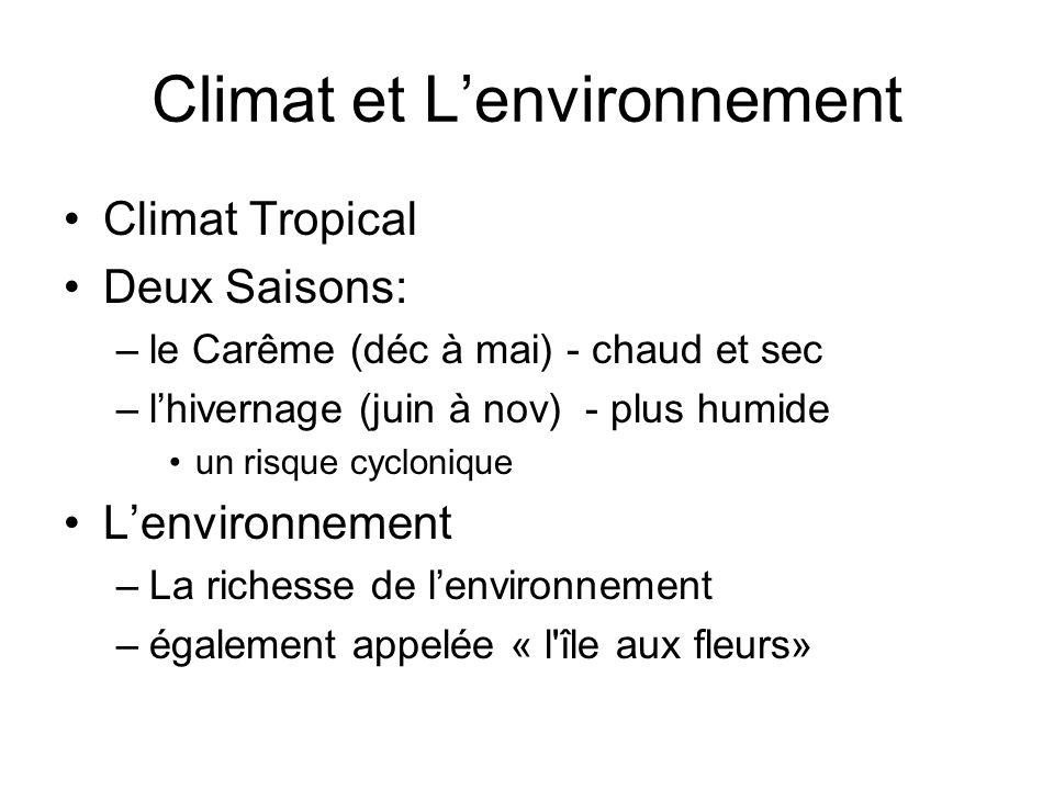 Climat et Lenvironnement Climat Tropical Deux Saisons: –le Carême (déc à mai) - chaud et sec –lhivernage (juin à nov) - plus humide un risque cycloniq