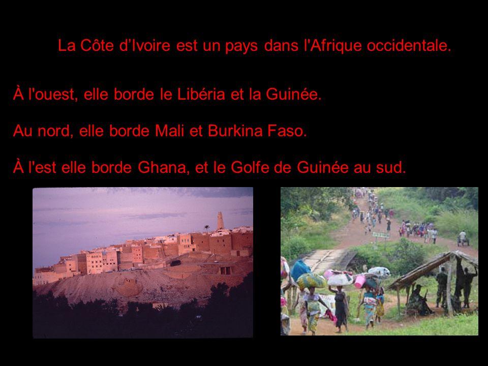 i La Côte dIvoire est un pays dans l'Afrique occidentale. À l'ouest, elle borde le Libéria et la Guinée. Au nord, elle borde Mali et Burkina Faso. À l