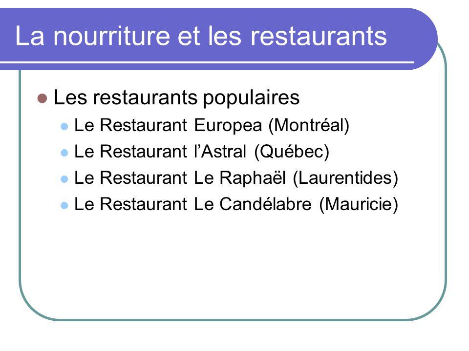 La nourriture et les restaurants Les restaurants populaires Le Restaurant Europea (Montréal) Le Restaurant lAstral (Québec) Le Restaurant Le Raphaël (Laurentides) Le Restaurant Le Candélabre (Mauricie)