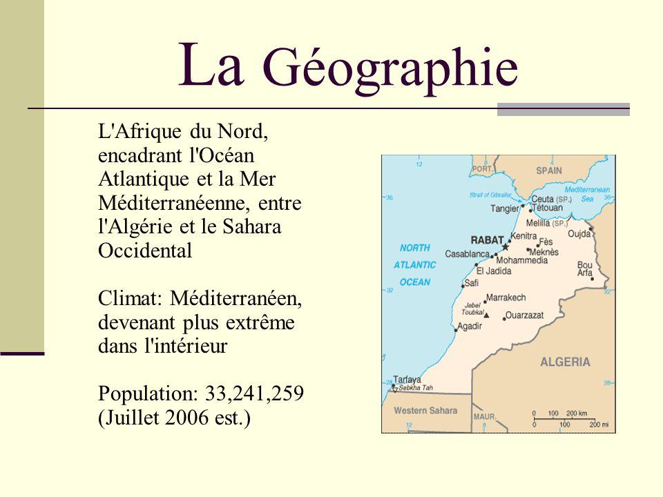 La Géographie L Afrique du Nord, encadrant l Océan Atlantique et la Mer Méditerranéenne, entre l Algérie et le Sahara Occidental Climat: Méditerranéen, devenant plus extrême dans l intérieur Population: 33,241,259 (Juillet 2006 est.)