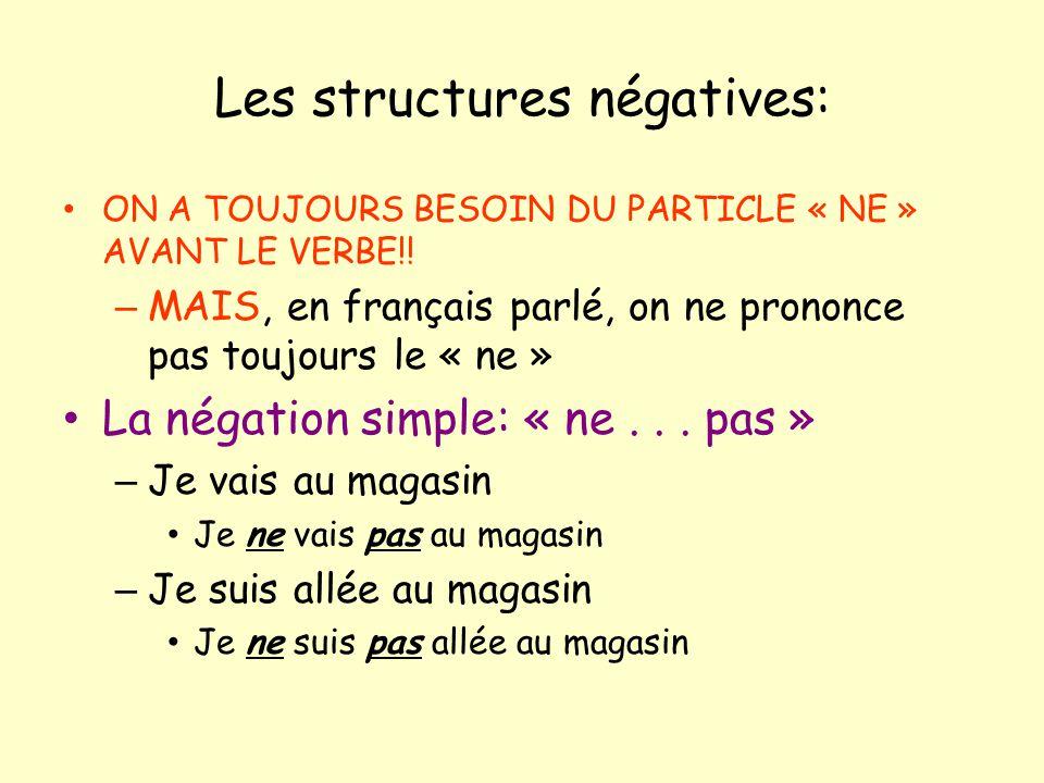 Les structures négatives: ON A TOUJOURS BESOIN DU PARTICLE « NE » AVANT LE VERBE!! – MAIS, en français parlé, on ne prononce pas toujours le « ne » La