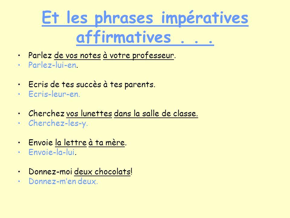 Et les phrases impératives affirmatives... Parlez de vos notes à votre professeur.
